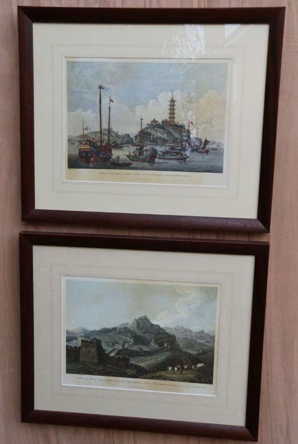 A Decorative Pair Of Coloured Prints Showing Early Views Of China