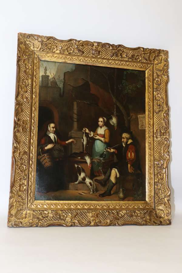 A Fine 19th Century Dutch School Oil Painting On A Steel Panel