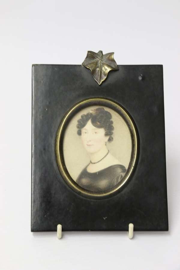 Early Miniature Framed Portrait Watercolour, C 1820