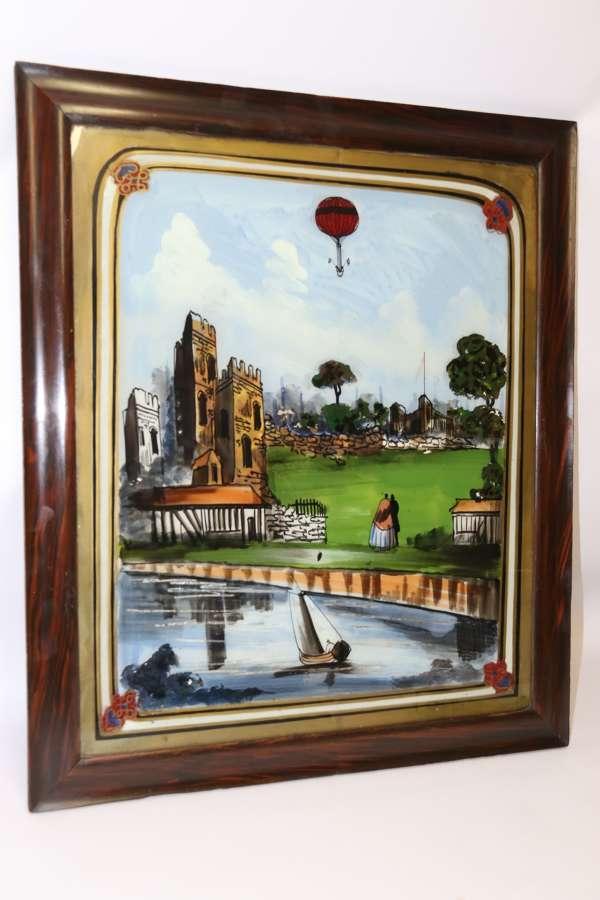 A Rare 19th Century Gas Balloon Flight Reverse Painting On Glass