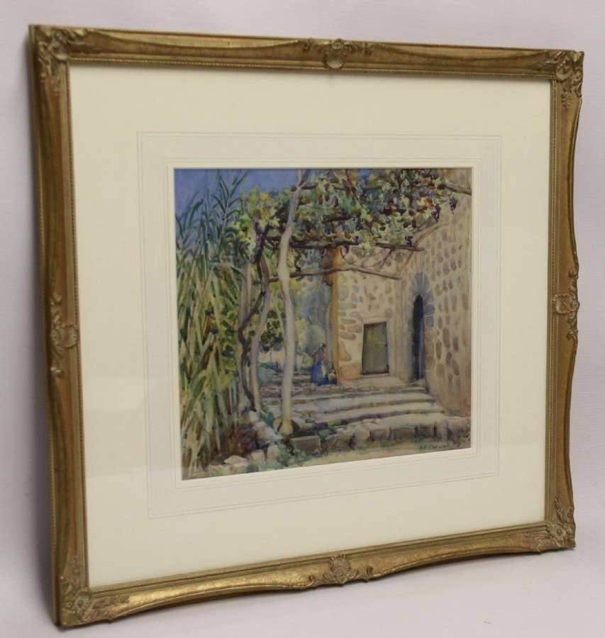 A Charming Watercolour  Painting Of A Scene In Corfu Circa 1920 By Edith E Caswall