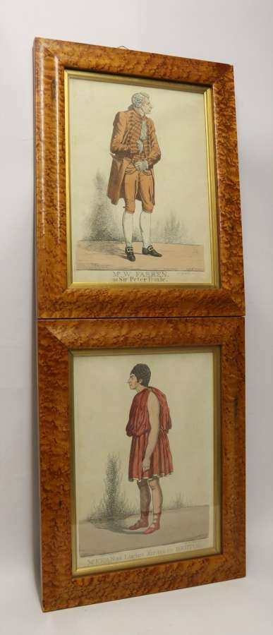 An Interesting Pair Of English Hand Coloured Regency Theatrical Prints