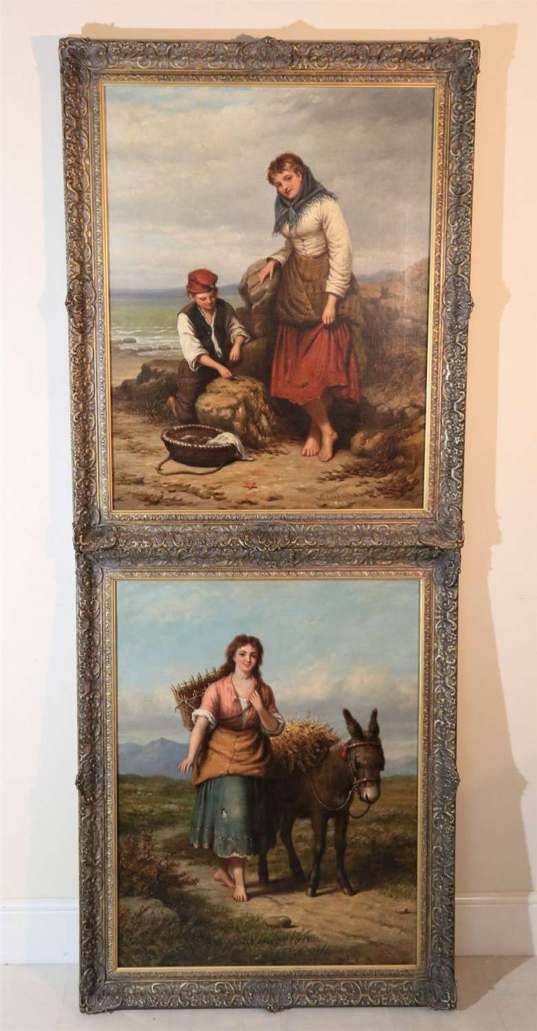 A Magnificent Large Pair Of Victorian Oil Paintings By Walter Jackson.