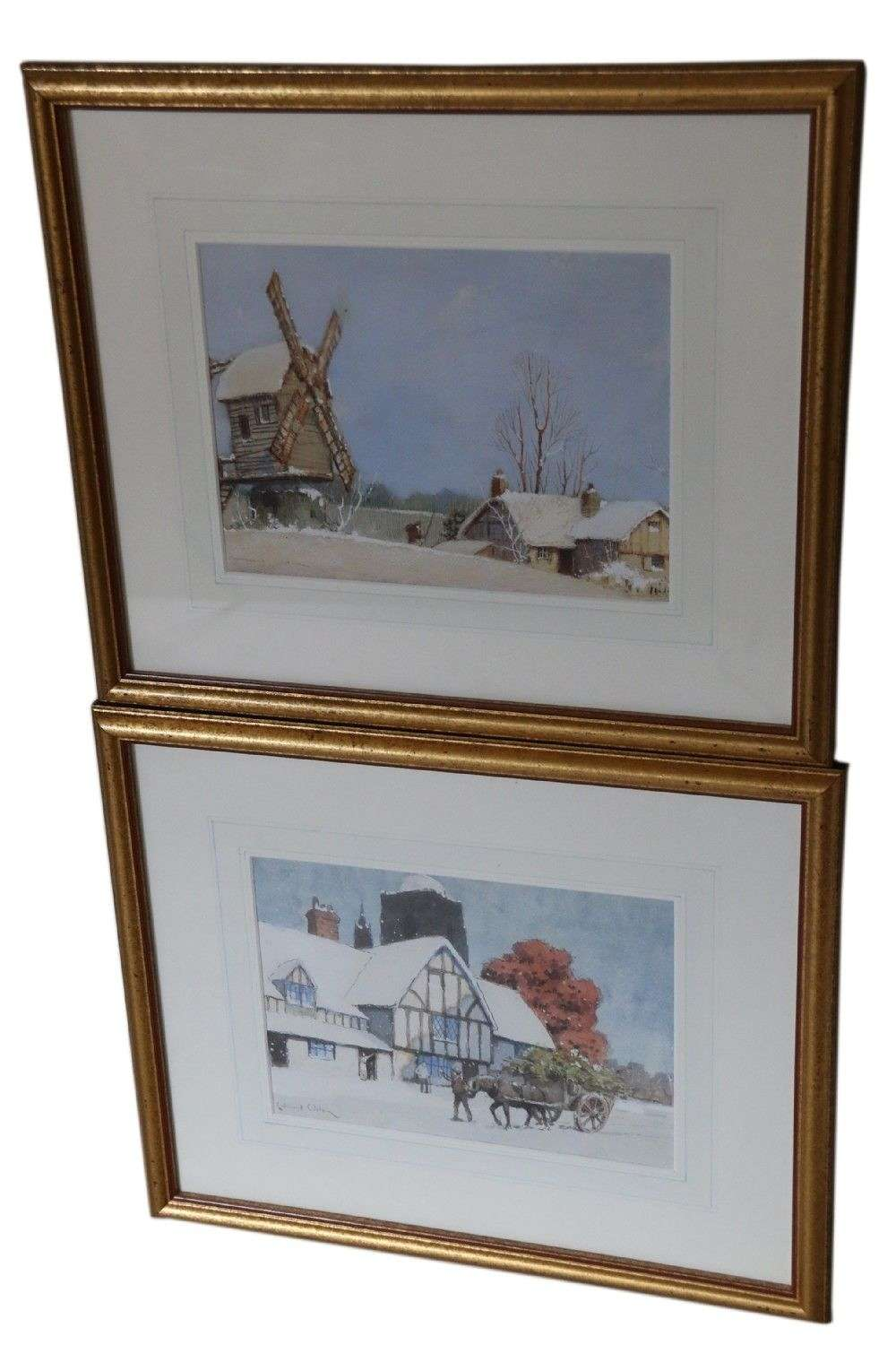 A Fine Pair Of 1930's Watercolours By Ernest Uden, Of Snowy Landscapes.