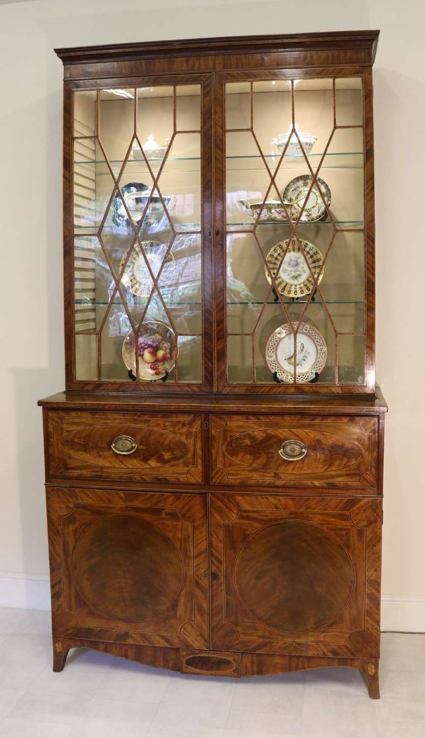A Superb George III Period Inlaid Flame Mahogany Secretaire Bookcase/display Cabinet