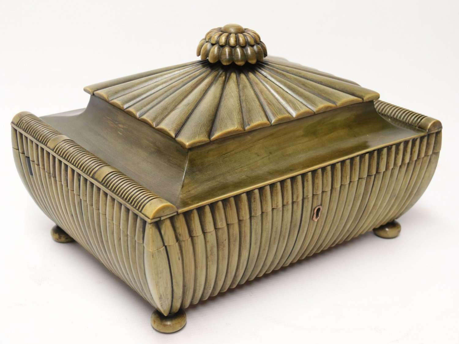 An Exceptional Indian Raj Period Carved Horn Workbox