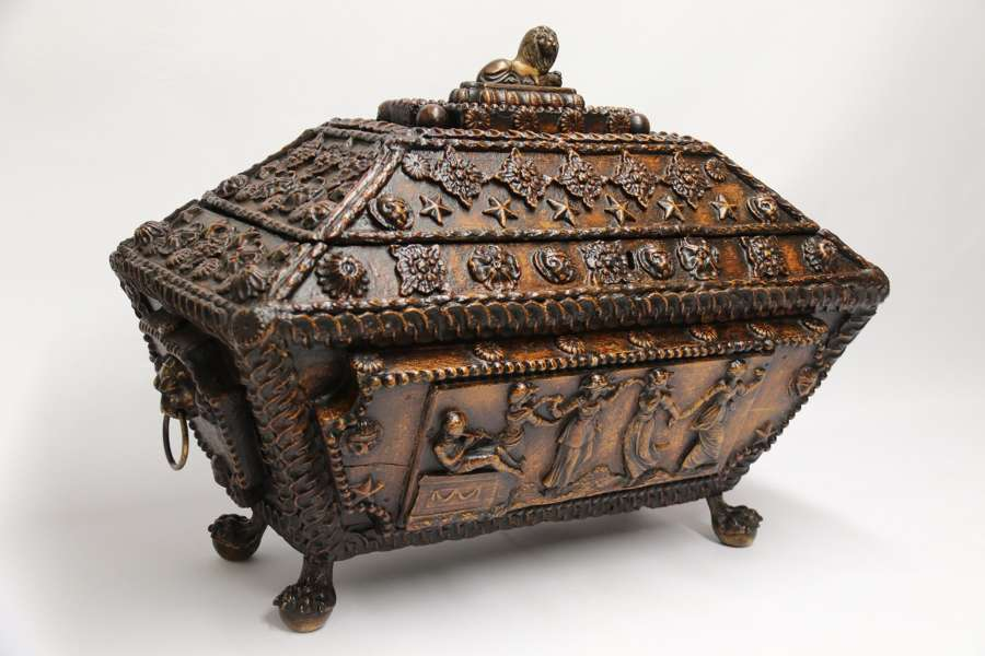 A Rare And Important Large Regency Period Country House Gesso Decorated Casket