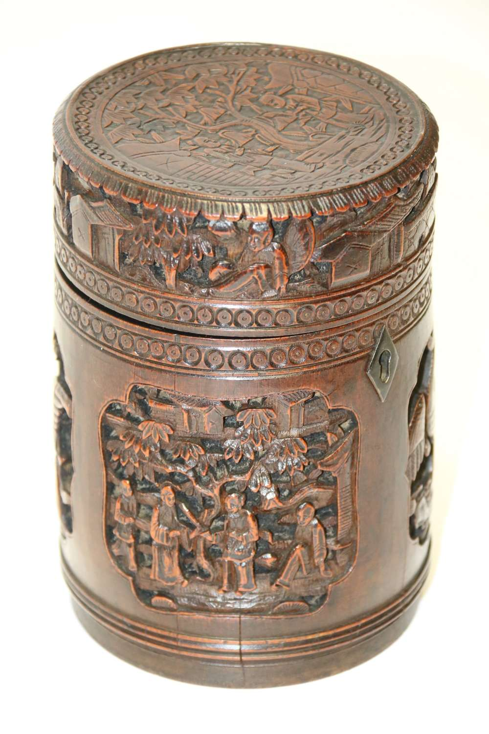 A 19th Century Carved Chinese Bamboo Tea Caddy.
