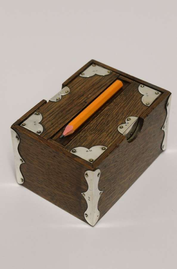 A Small Edwardian Silver Mounted Oak Pencil Box For The Game Of Bridge