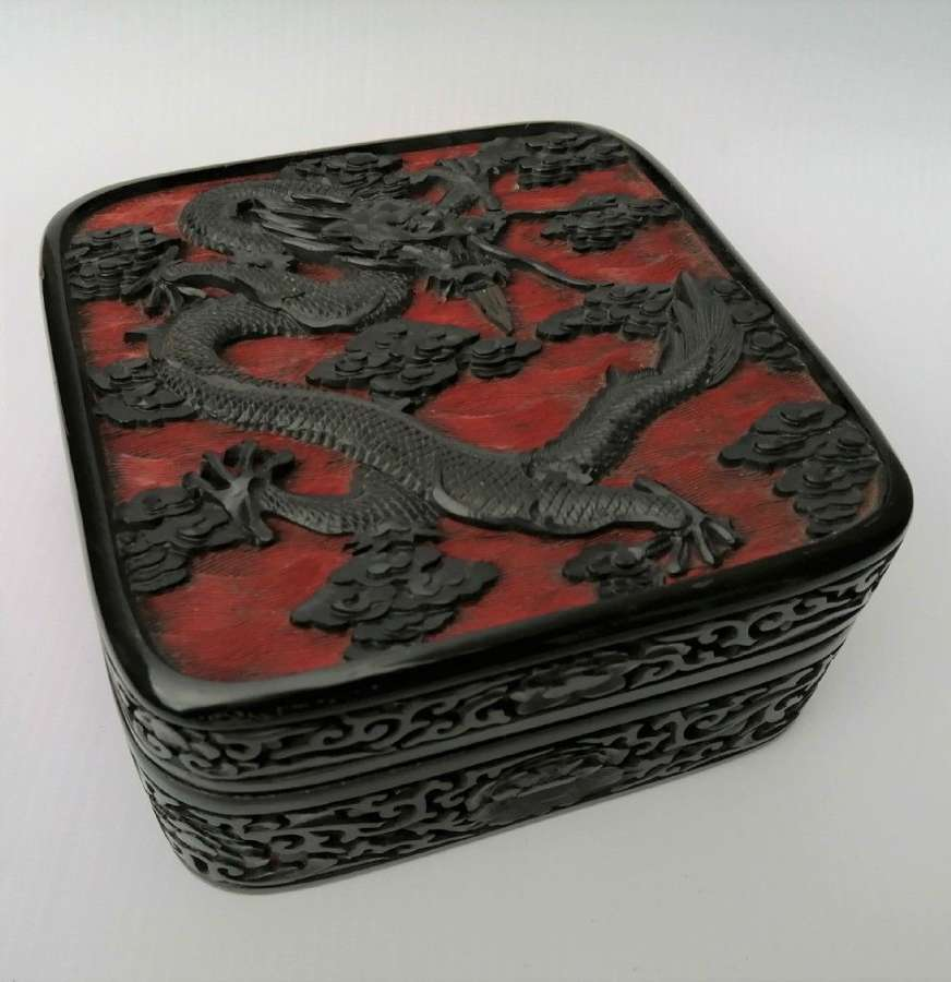 A Fine Quality 19th Century Chinese Carved Red And Black Lacquer Box