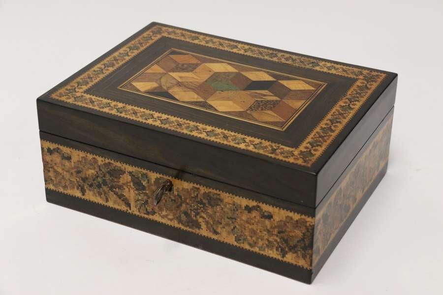 A Superb Labelled Tunbridge Ware Jewel Box