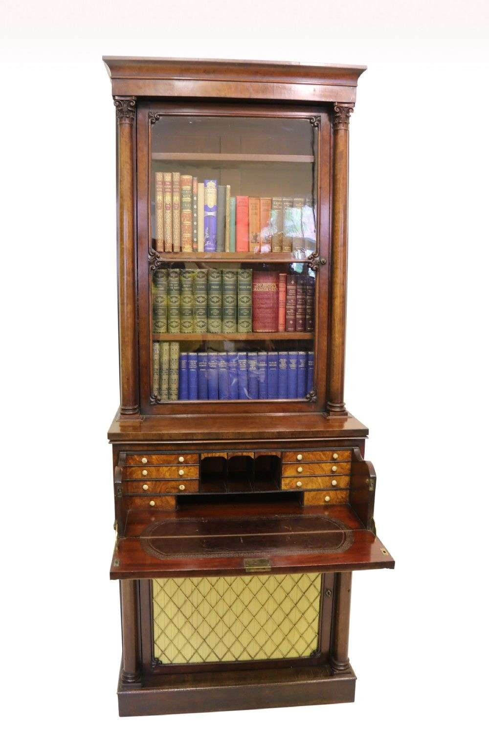 A Rare Small Regency Mahogany Secretaire Bookcase By Gillows Of Lancaster