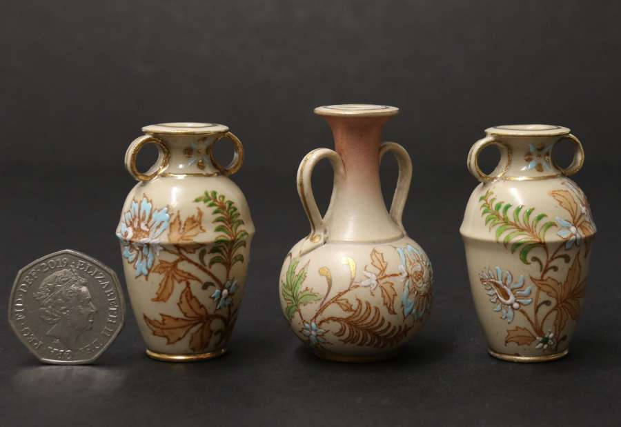A Rare Doulton Lambeth Carrara Ware Miniature Garland Of Three Hand Painted Vases.
