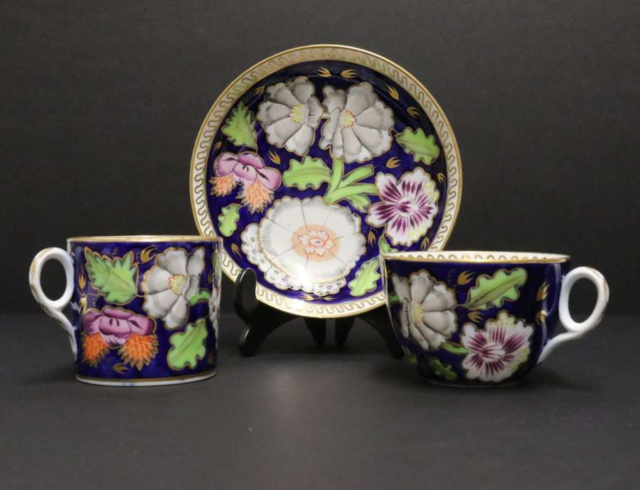 An English  Early 19th C Newhall Porcelain Cabinet Trio C 1815