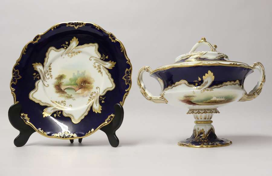 A Superb 19th C Mintons Dessert Cream Tureen With Stand.