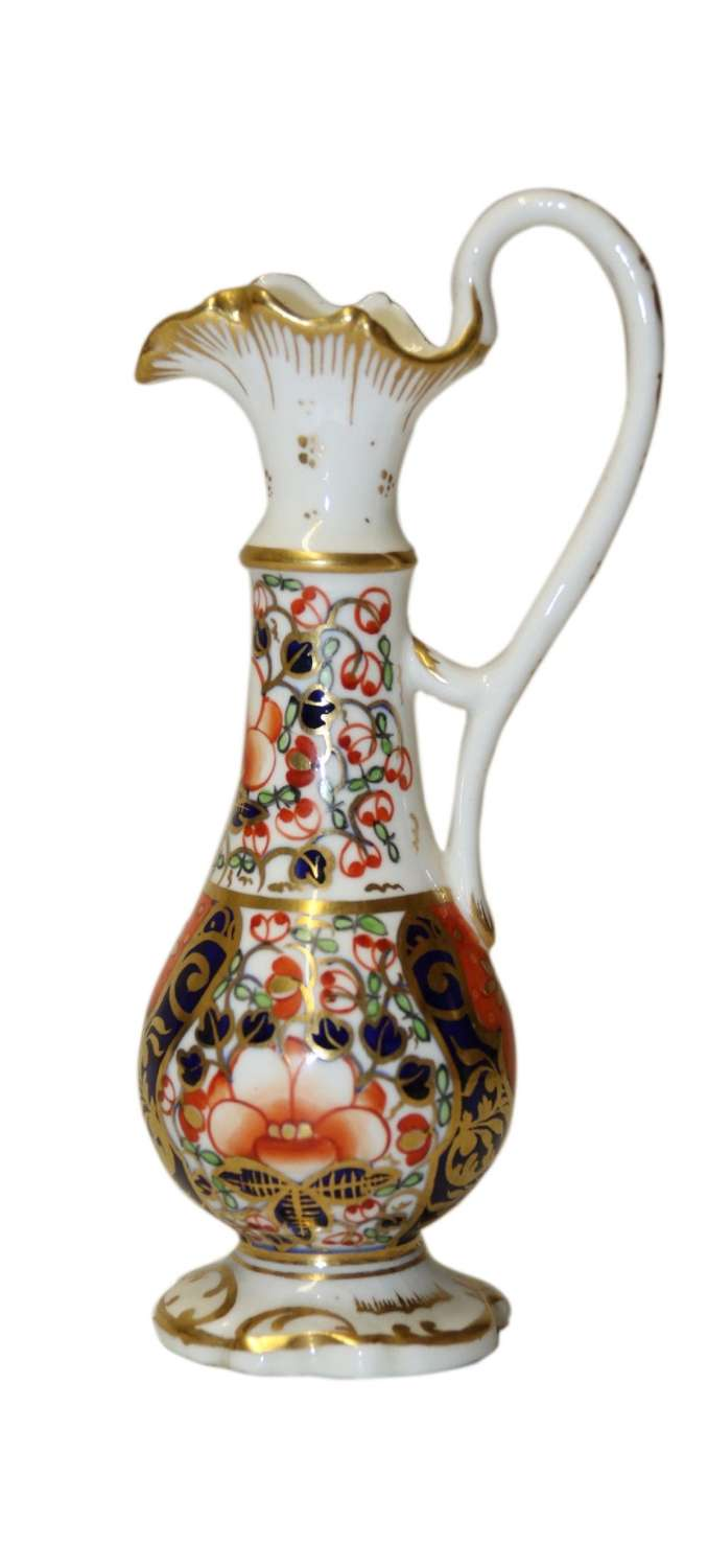 An Antique English Mid 19th Century Hand Painted Derby Ewer