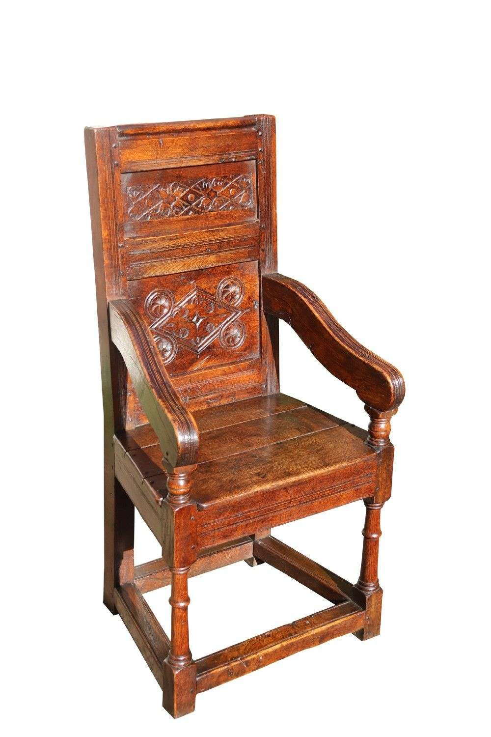 Antique English Oak Panelled And Moulded Wainscot Armchair.