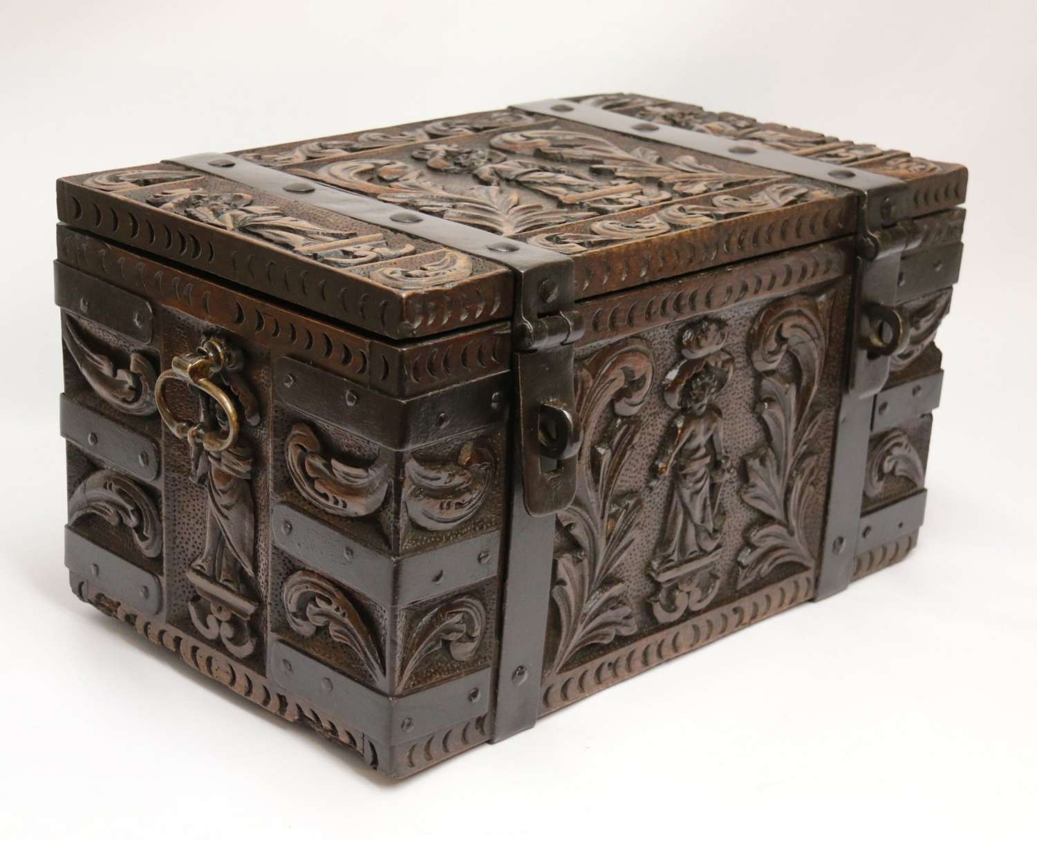 A Rare Ships Or Country House Carved Oak And Steel Bound Strong Box