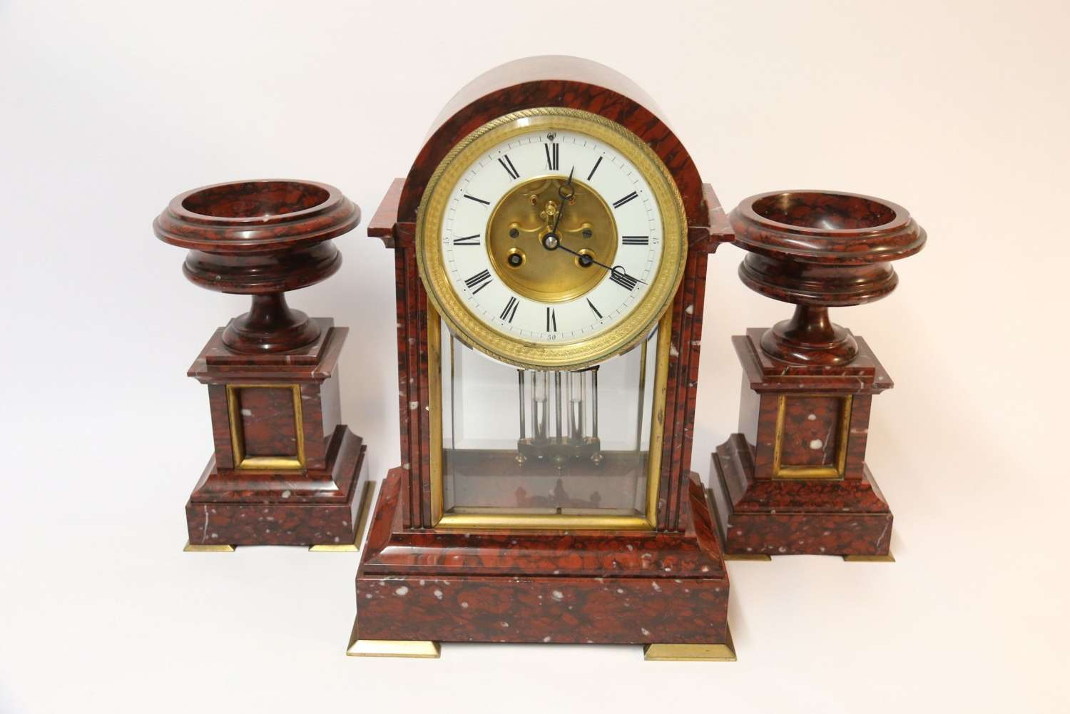 A Fine Quality French Marble Clock Garniture By Samuel Marti.