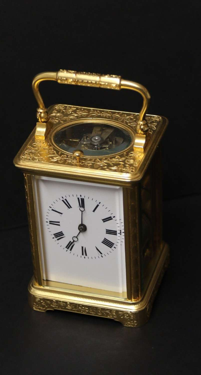 A Fine Late 19th Century Hand Engraved And Gilt Cased Repeating Carriage Clock By Margaine