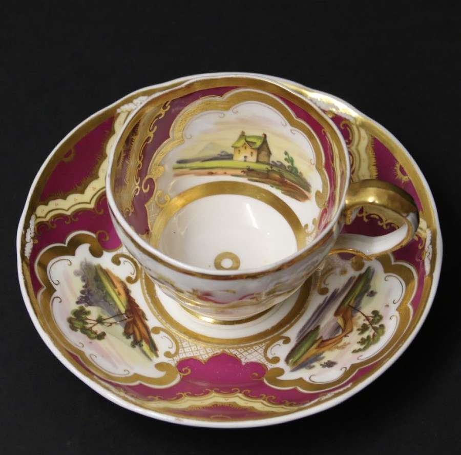 An Early 19th Century English Ridgeway Porcelain Cabinet Cup And Saucer