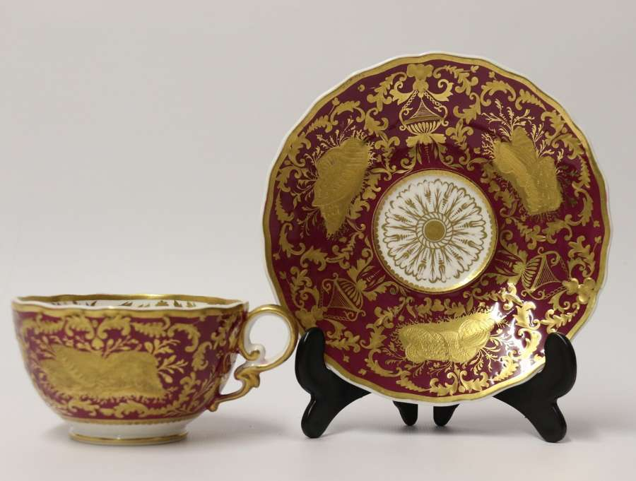An Exquisite And Rare Early 19t C Spode Cabinet Cup And Saucer.