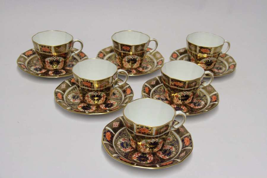 Crown Derby Hand Painted Set Of 6 Cups And Saucers, C 1910 -11