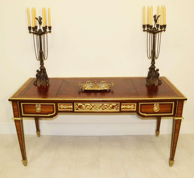 A Superb French Louis XVI Style Bureau Plat