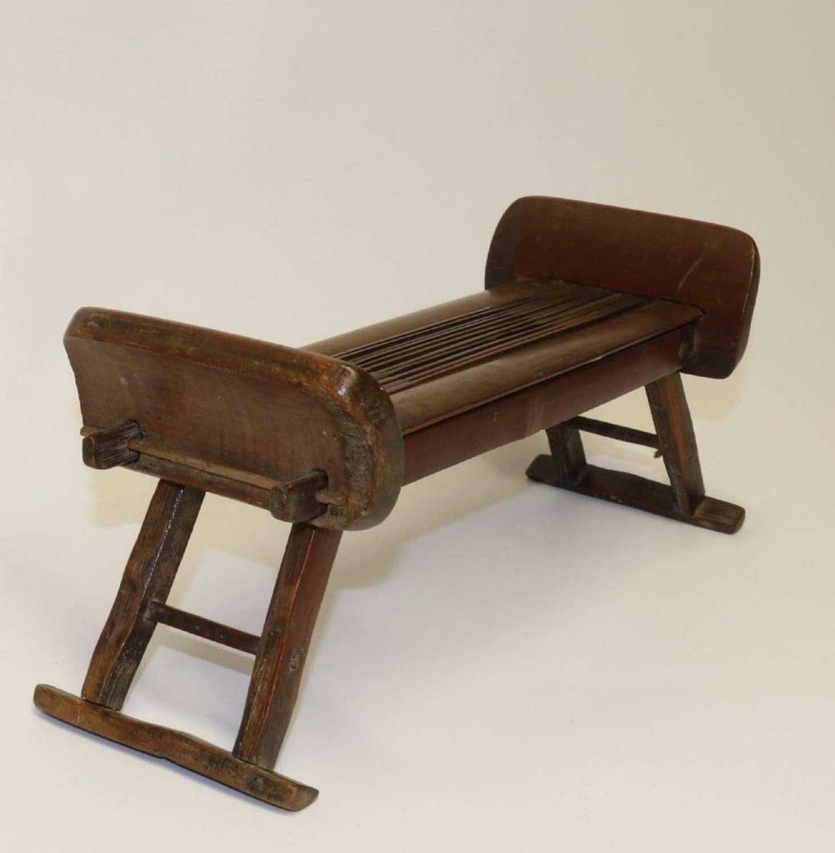 A Rare 18th Century Chinese Folding Bamboo Headrest