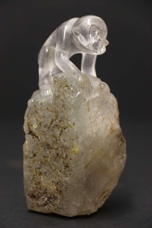 A Superb Chinese Quartz Rock Crystal Study Of A Monkey
