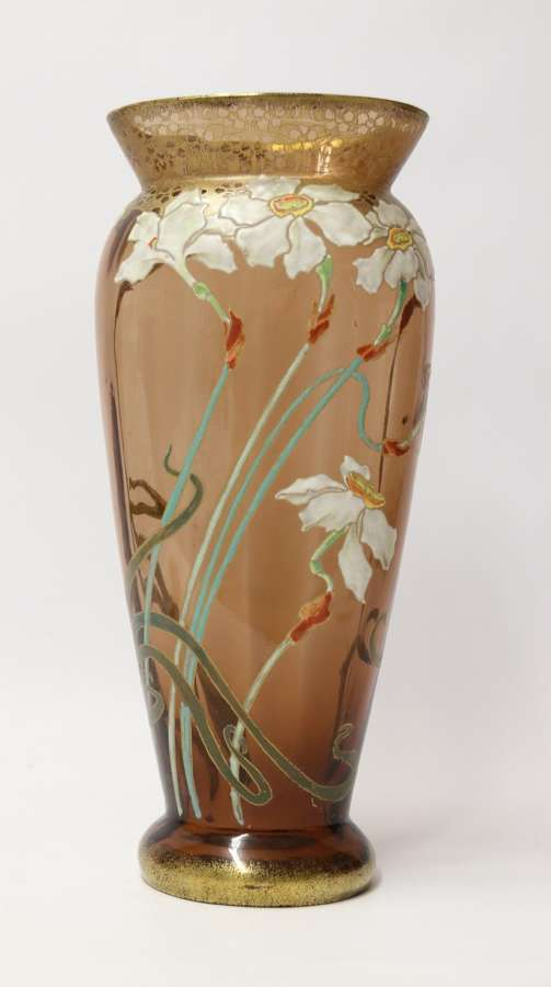 An Impressive Late 19th Century Large French Enamelled Glass Vase