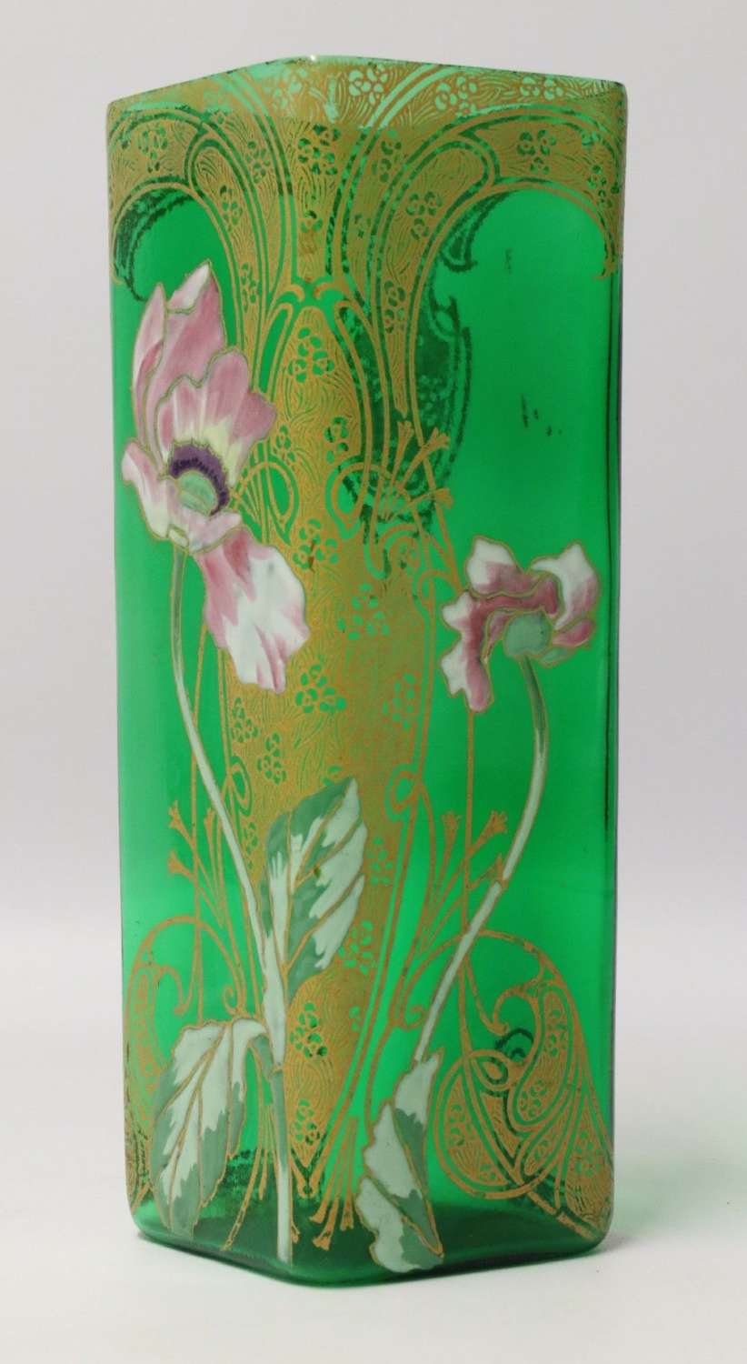 A Late 19th C French Enamelled Glass Vase Attributed To Legras
