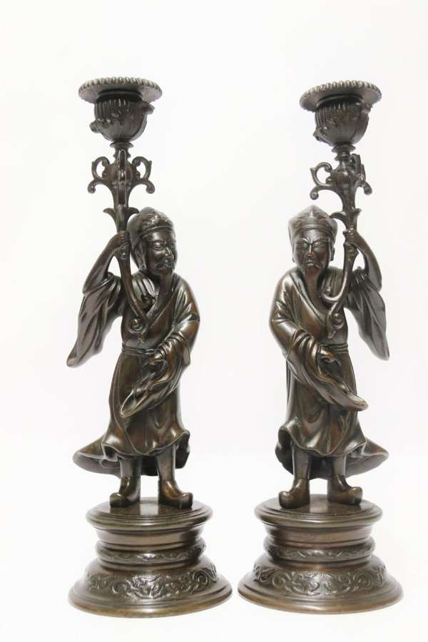 A Good Pair Of 19th C French Bronze Candlesticks In The Form Of Chinese Figures