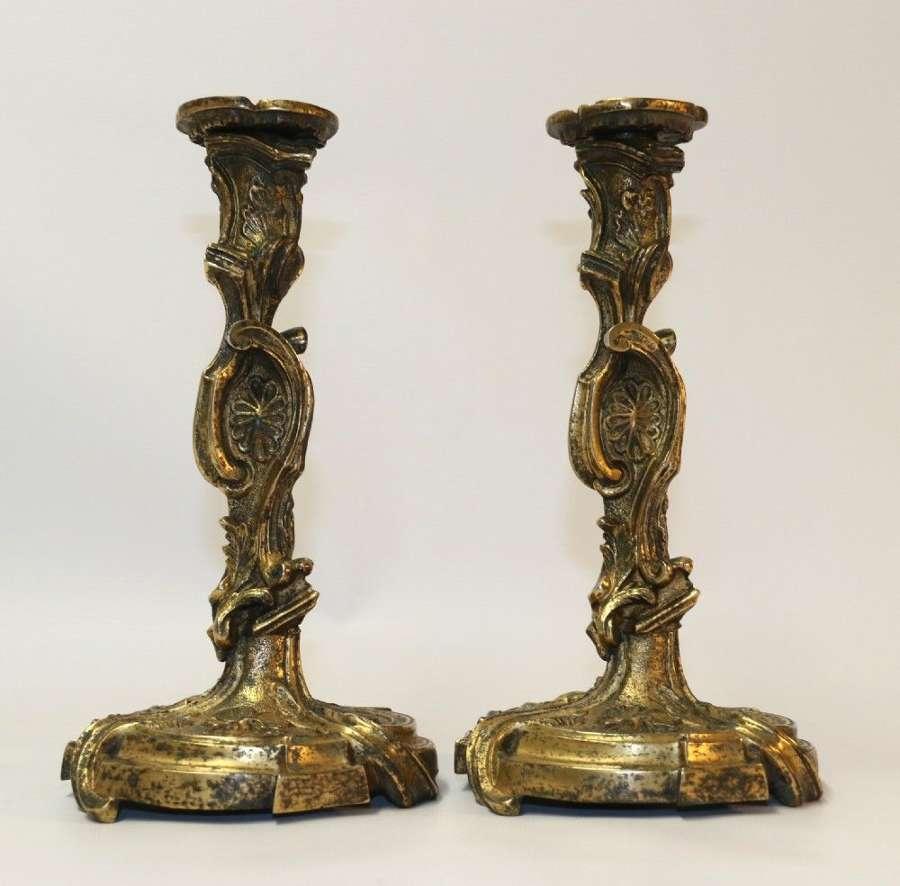 A Rare Pair Of 18th Century French Gilt Bronze Candlesticks