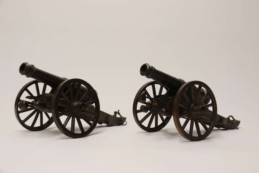 A Rare Pair Of French Mid 19th C Bronze Model Cannons