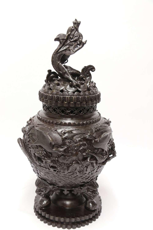A Large And Impressive Japanese Meiji Period Bronze Censer
