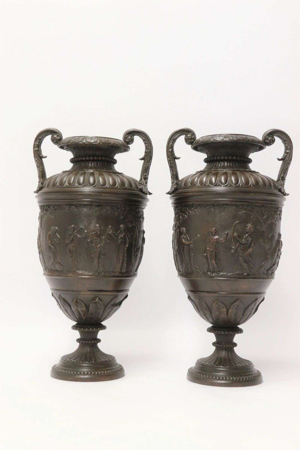 A Fine Pair Of Grand Tour French 19th C Neoclassical Bronze Urns