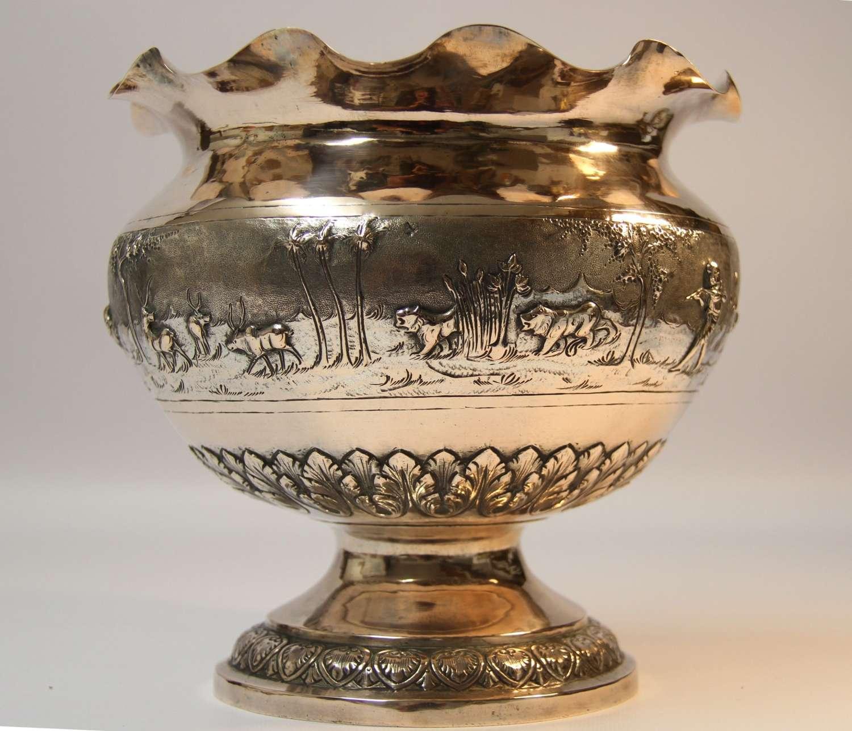 A Large 19th Century Indian White Metal Bowl