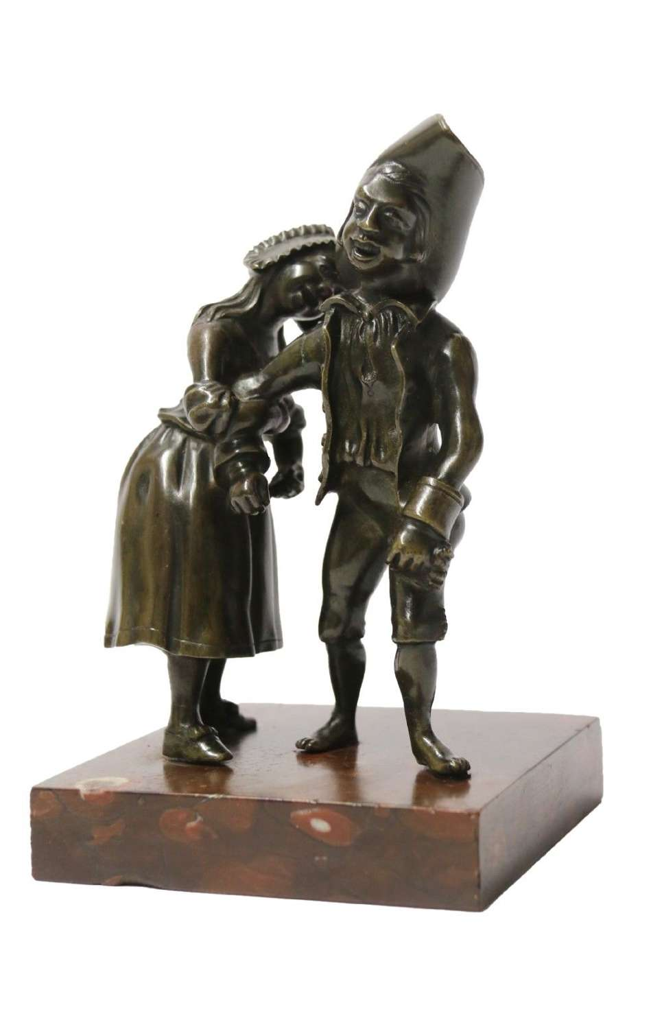 A Most Amusing 19th C Italian Bronze Study Of A Young Couple Dancing In A Drunken State.