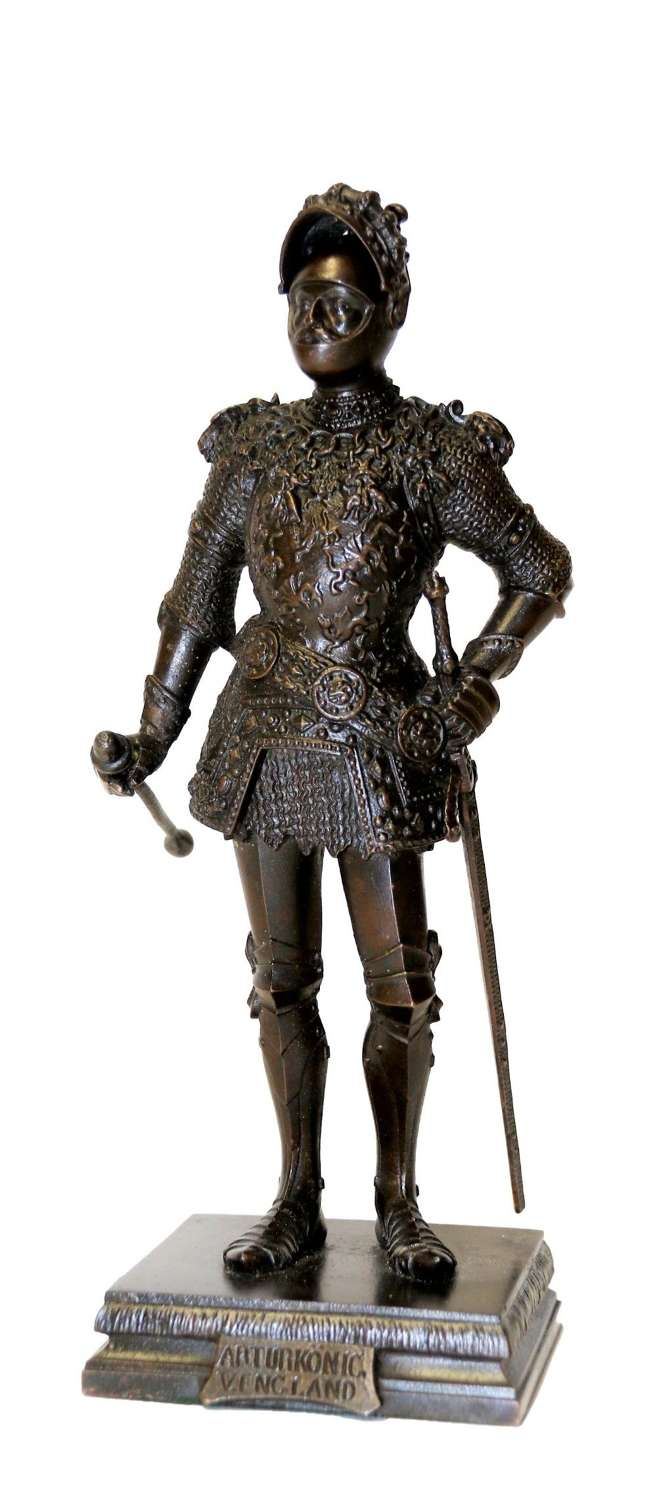 A Highly Detailed  Bronze Study Of King Arthur In Ornate Armour.