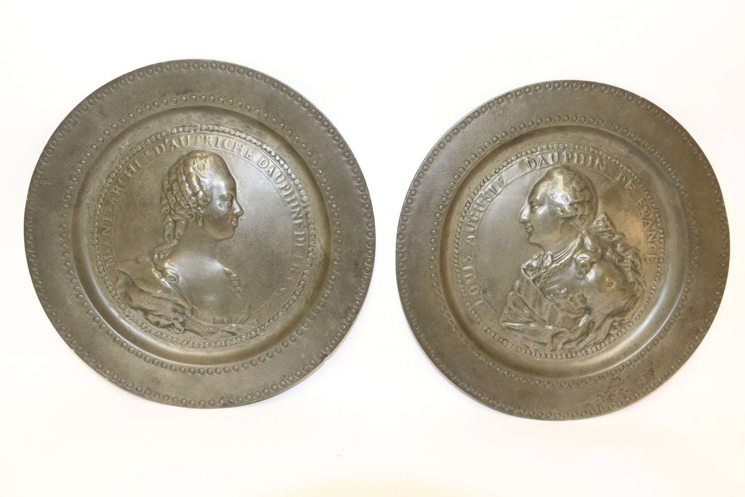 A Pair Of 18th Century Louis XVI And Marie Antoinette Commemorative  Pewter Plates