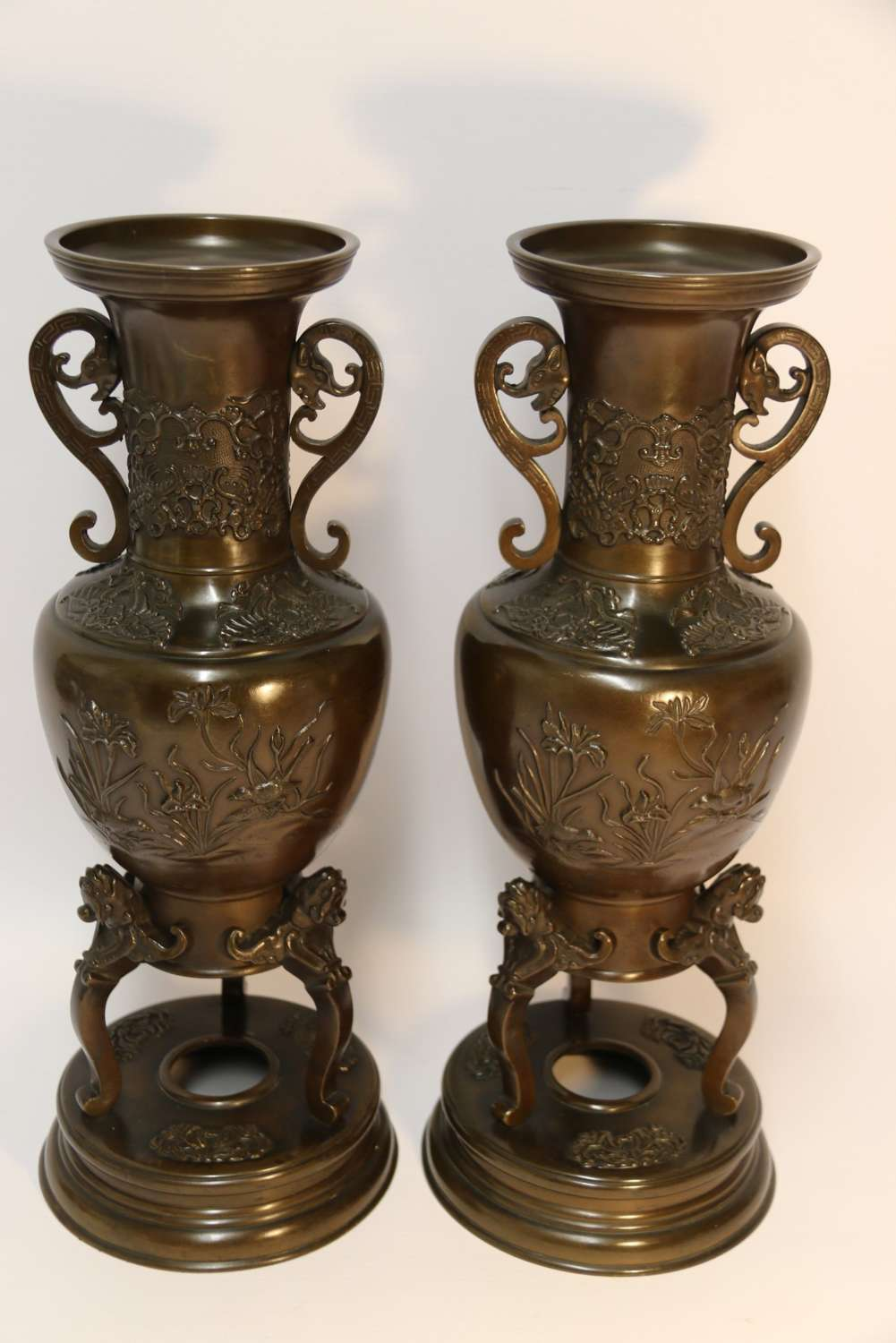 A Pair Of Meiji Period Japanese Bronze Vases