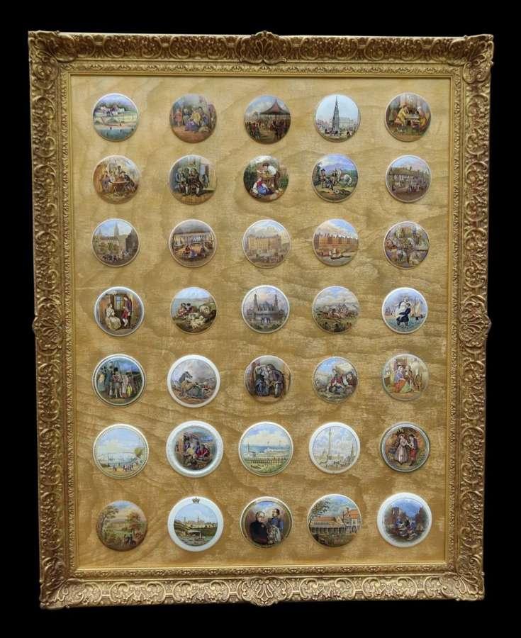 A Collection Of Framed Victorian Prattware Pots Lids