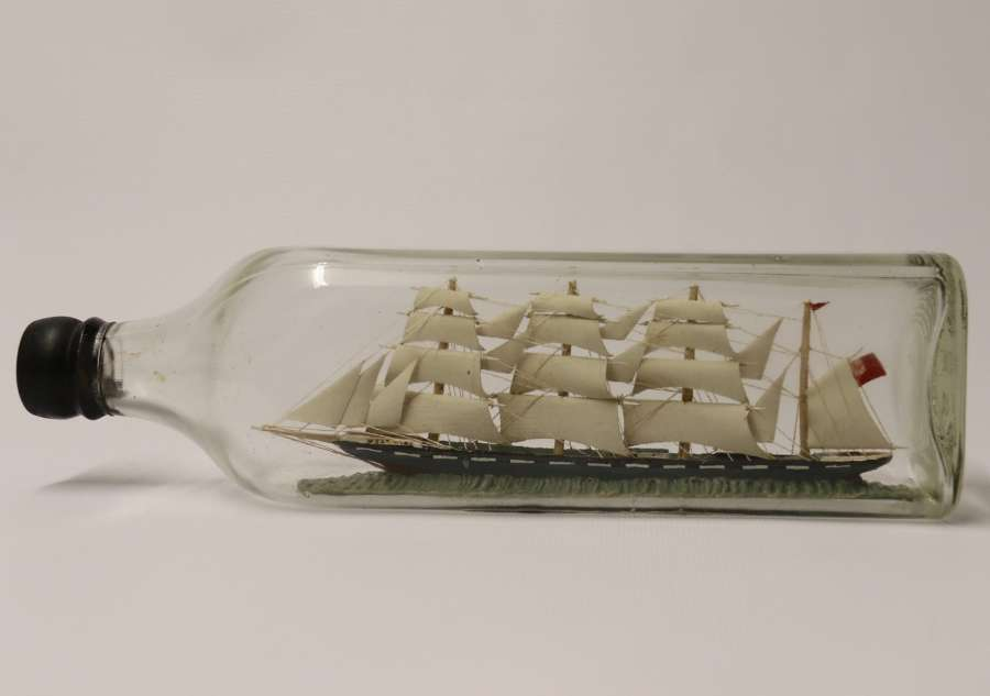 Amazing Quality Model Ship In A Bottle, Circa 1920
