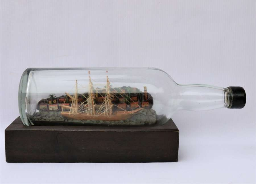 A Most Interesting Early 20th Century Model Ship Diorama Within A Bottle.