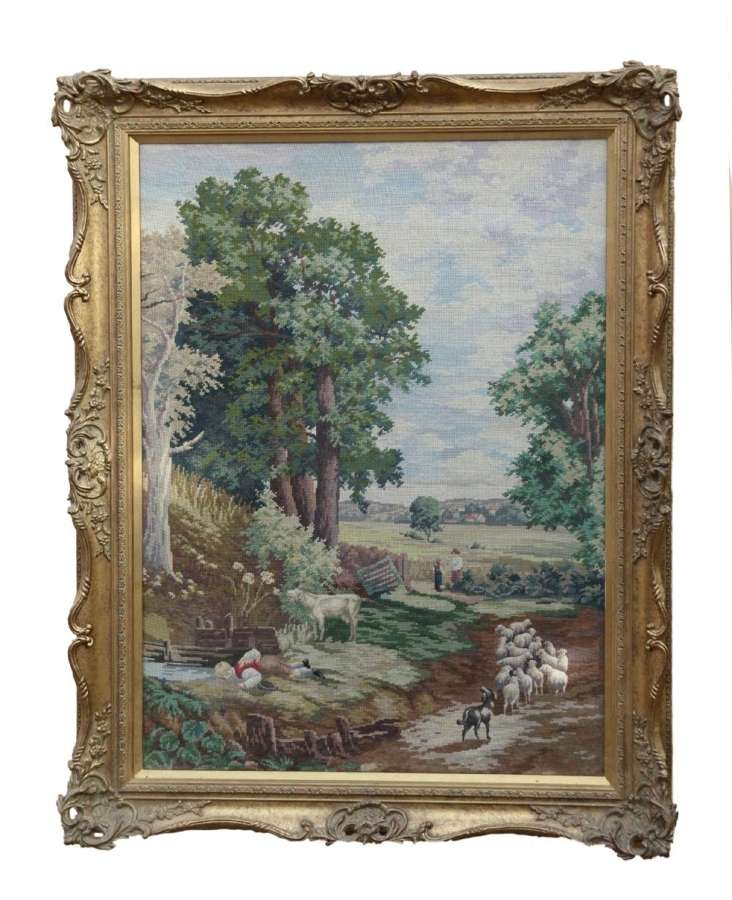 A Fabulous Late 19th C Large Wool Work Picture Taken From John Constable's Painting, The Corn Field
