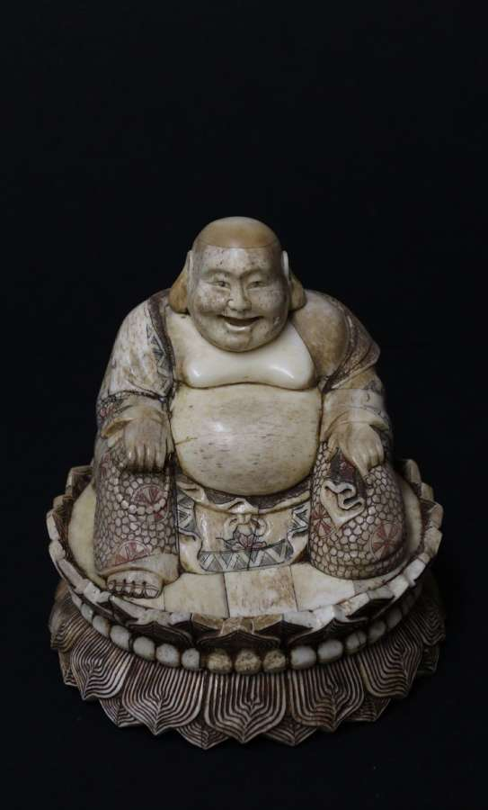 Early 20th Century Japanese Carved Bone Okimono Carved Figure Of The Seated Buddha