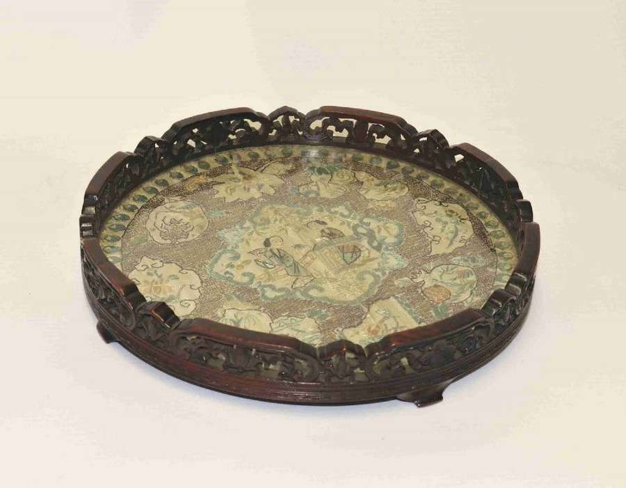 Chinese Carved Hardwood And Silk Embroidered Tray, Circa 1860