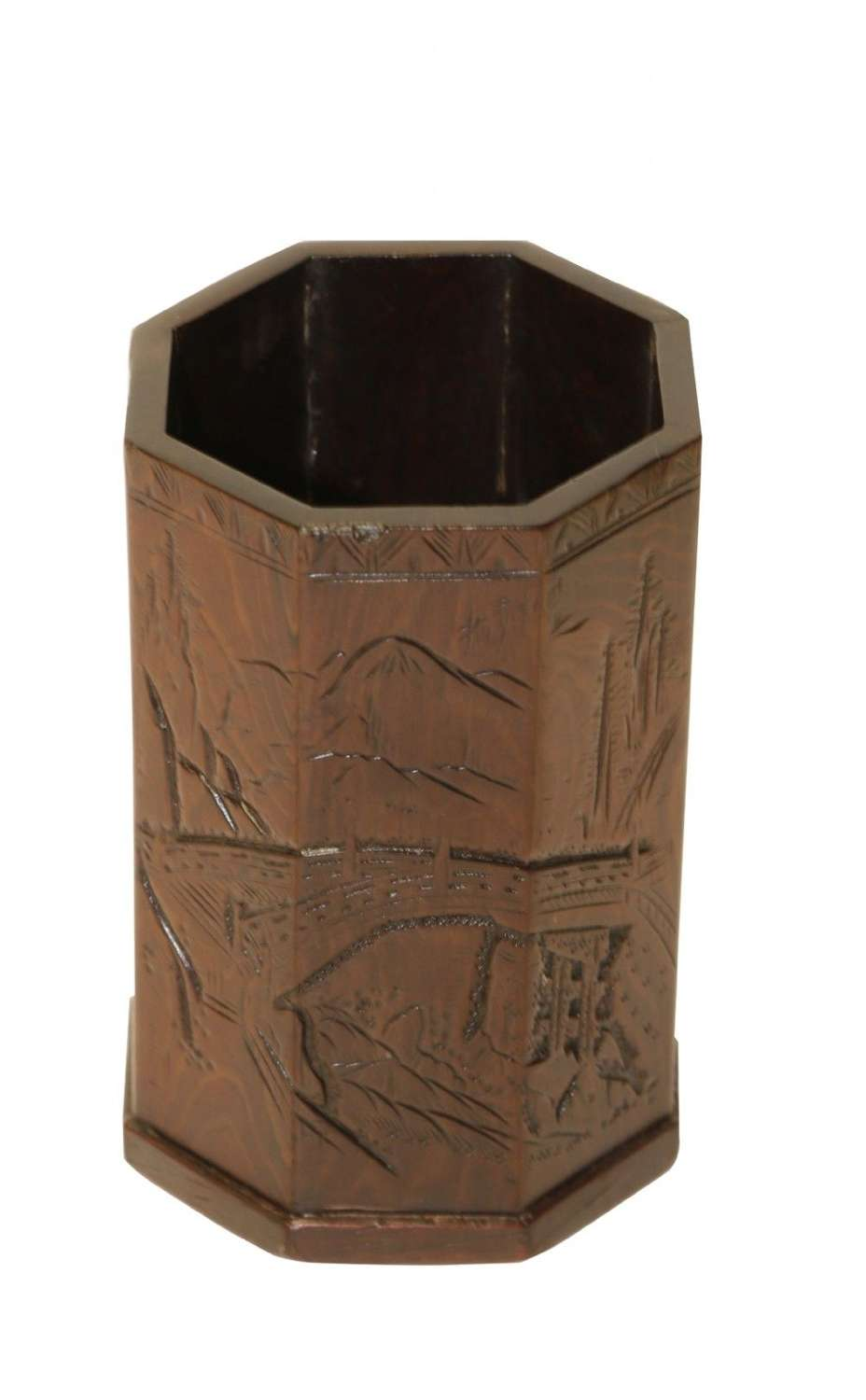 A Small Late 19th Century Chinese Carved Hardwood Brush Pot