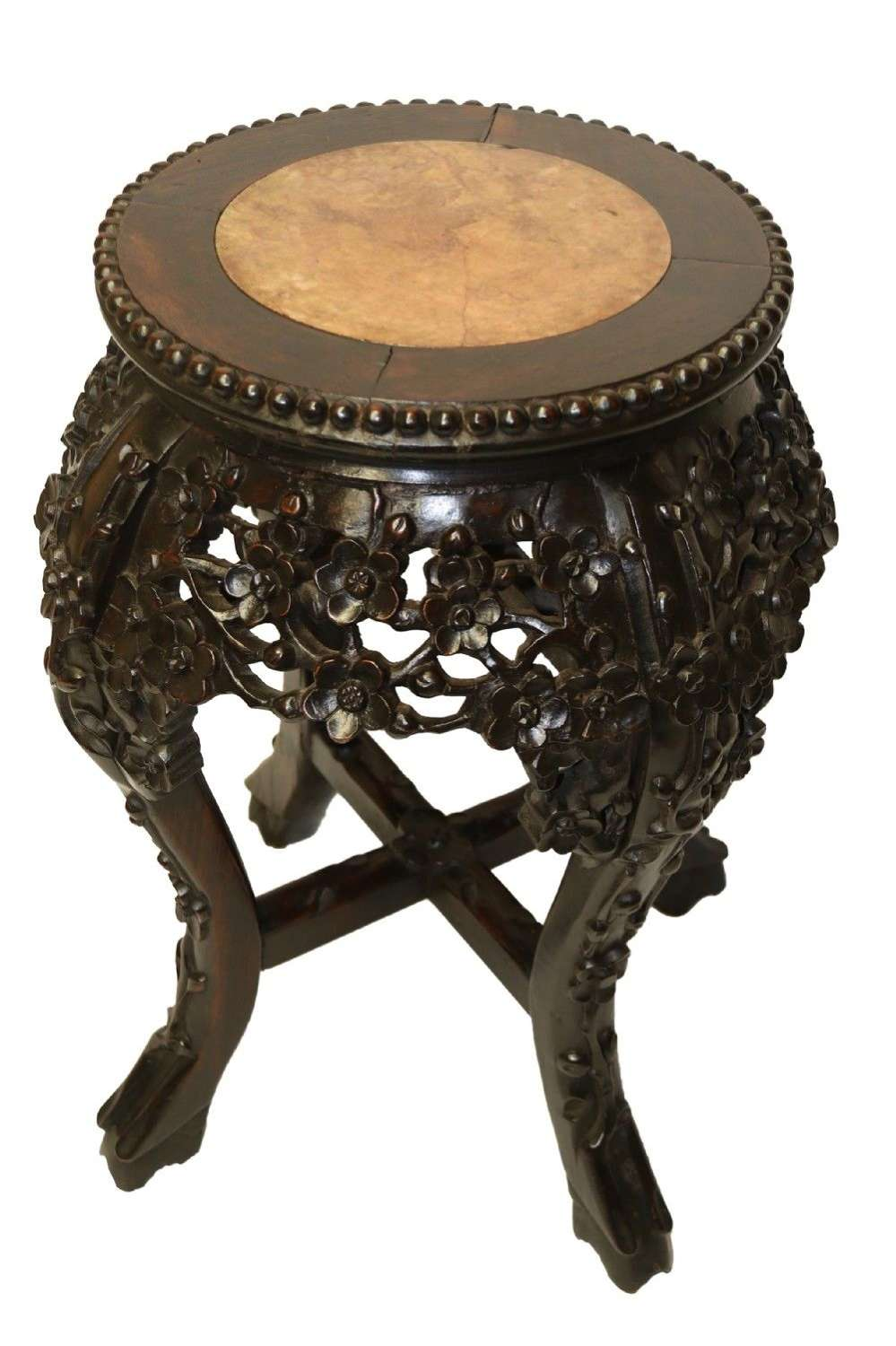 A Chinese Late 19th Century Carved Hardwood Circular Table Or Stand